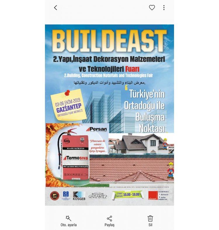 3-6 Ekim Gaziantep BUILDEAST 2.Yapı Fuarına katılıp sağladık